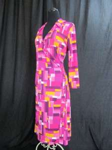 Isaac Mizrahi Fuchsia Pink Graphi Print Wrap Sheath Elbow Midi Dress L