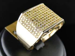 10K MENS YELLOW GOLD ROUND CUT CANARY DIAMOND PAVE FASHION PINKY RING