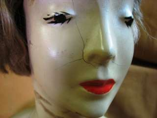 VINTAGE LAMOREAUX PLASTER MANNEQUIN DISPLAY HEAD W/HAIR