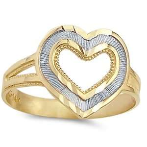 Heart Ring 14k White Yellow Gold Right Hand Fashion Band, Size