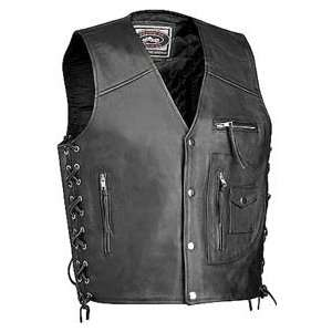 River Road 4 Pocket Leather Vest Medium Automotive