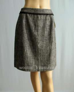 Kate Spade Picnic Tweed Skirt Cream Black Linen 10