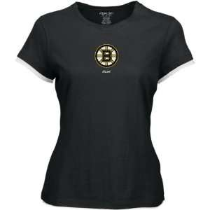 Boston Bruins Womens Frosted Logo Cap Sleeve Layered