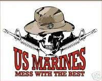 USMC MARINE CORPS MESS WITH THE BEST SKULL RIFLE DECAL