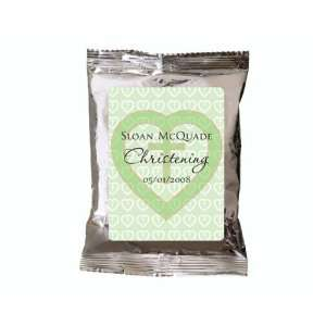 Green Heart Cross Theme Personalized Hot Cocoa Favors (Set of 24