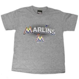 MLB Florida Miami Marlins New Logo Gray T Shirt Small SM Cotton Youth