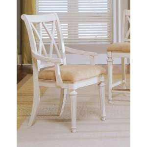 American Drew Camden Antique White Splat Arm Chair   920