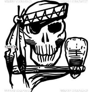 INDIAN WITH STONE AXE SKULL WHITE VINYL DECAL STICKER