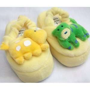Baby New Born Plush Yellow and Green Dino Shoes Slippers, Size