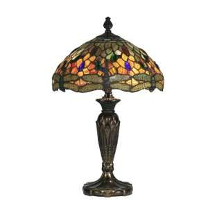 Tiffany TT10504 Tiffany Table Lamp, Fieldstone and Art Glass Shade