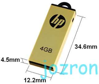 HP v225w 8GB 8G USB Flash Drive Metal Disk Stick Gold