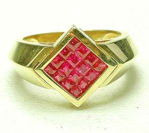 Modern MInt 14k yellow gold Ruby Mans cocktail ring