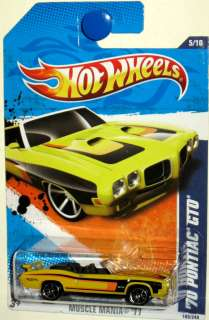 1970 Pontiac GTO Convertible Hot Wheels 2011 Muscle Mania #5/10 yellow