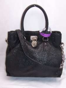 Michael Kors BLACK Leather Hamilton Large N/S Tote Handbag Retail $348