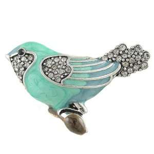 Large Blue Bird Enamel and Crystal Antique Silver Tone Stretch Band