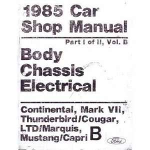 1985 CONTINENTAL MARK VII COUGAR MARQUIS Service Manual Automotive
