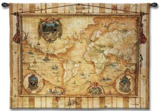 OLD WORLD MAP VINTAGE ANTIQUE ART WALL HANGING TAPESTRY