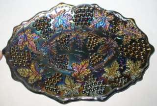 NORTHWOOD BANDED GRAPE & CABLE AMETHYST CARNIVAL GLASS DRESSER TRAY
