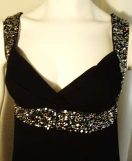 GORGEOUS BLACK FORMAL GOWN LONG PROM DRESS W/ SILVER SEQUIN 8 M