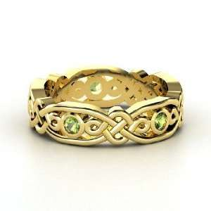 Brilliant Alhambra Band, 14K Yellow Gold Ring with Green