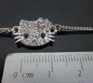 Newest Cute hello kitty crystal pink bow bracelet Z20