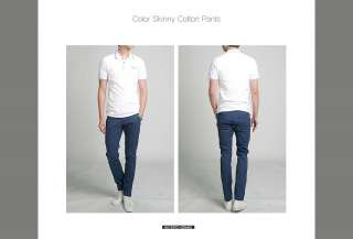 Bros Mens Slim Skinny Cotton Pants Jeans Blue