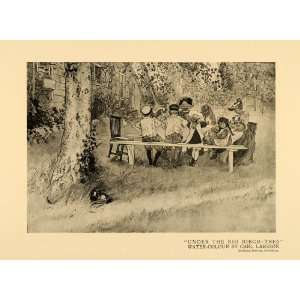 1920 Print Big Birch Tree Family Picnic Table Lunch Art