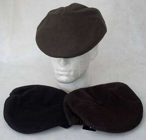 FLAT CAP HAT 5 PANEL WOOL BLEND BLACK BROWN OLIVE SIZES