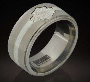 HHARLEY DAVIDSON® MENS STAMPER® SILVER ACCENTED TITANIUM RING TR372N
