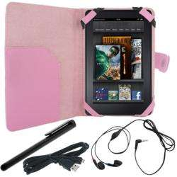Deluxe  Kindle Fire Pink Leather Case/ USB Cable/ Stylus