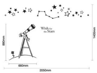 wall decor paper decals stickers stick art vinyl telescope stars