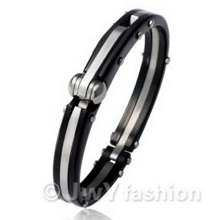 MENS BLack Silver Stainless Steel Hand Cuff Bracelet LP494 693