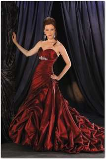 Sweetheart Neck Off shoulder Red Wedding dress Ball Gown 8 10 12 14 16