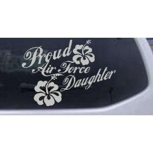 16.8in    Proud Air Force Daughter Hibiscus Flowers Military Car