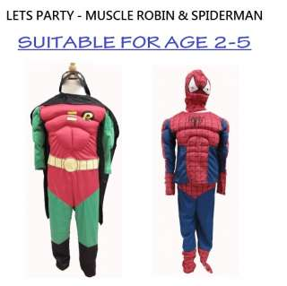 Batman Spiderman Super Hero Character Party Costume Summer Set
