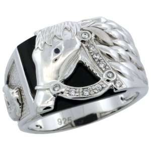 Sterling Silver Mens Black Onyx Horse Ring w/ CZ Stones, 9/16 in. (14