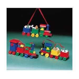 Club Pack of 12 Colorful Wooden Train Christmas Ornaments 4.5