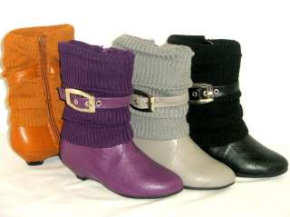 Girls Kid Knit Slouchy Buckle Boots Low Heel *Pageant Costume*