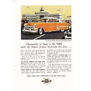 1954 Ad Orange Chevy Bel Air 4dr Sedan Chevrolet Original Car