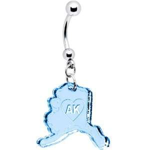 Light Blue State of Alaska Belly Ring Jewelry