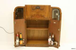 Fab Art Deco Walnut Cocktail Cabinet / Drinks Bar