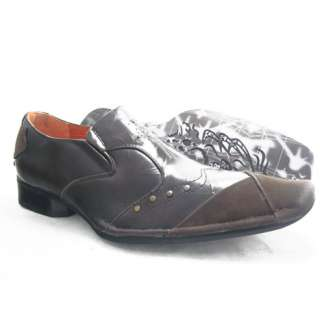 SZ 7.5 MENS ITALIAN DESIGNER LEATHER DRESS SHOES BROW