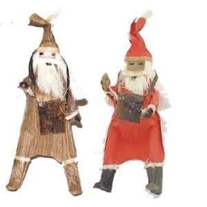 Banana Fiber Santa Christmas Tree Ornaments Set of Two Fair Trade