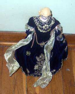 Large Blue Velvet Lady Christmas Tree Topper NICE