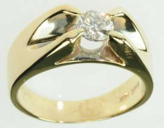 MENS 14K SOLID YELLOW GOLD DIAMOND SOLITAIRE MANS BAND ESTATE RING