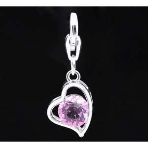Silver Plated Pink Rhinestone Clip on Dangle Charm fits Thomas Sabo