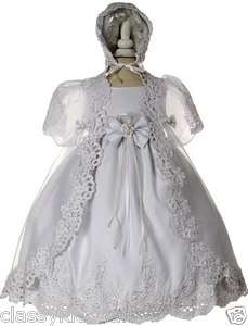 New Infant Baby Toddler Girl White Christening Baptism Dress Gown