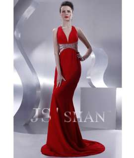 JSSHAN Red Chiffon Halter Beaded Hot Long Formal Prom Ball Gown