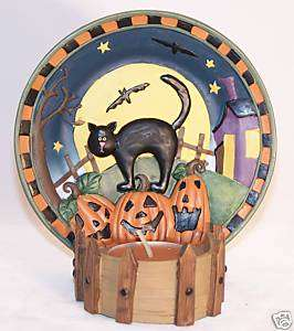 Halloween Black Cat Tealight Holder w/ Scented Candle