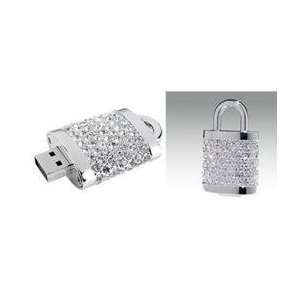 Rhinestone Jewel Lock Key Chain USB Flash Drive, 4 GB